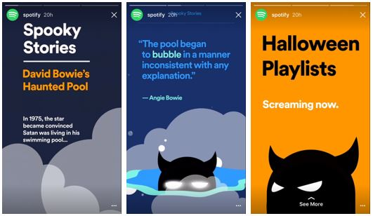 Spotify a jejich Spooky Instagram Stories
